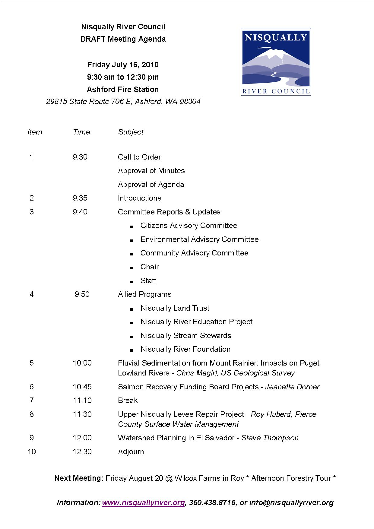 July NRC meeting agenda DRAFT Nisqually River Council