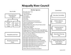 Nisqually River Council 2020 organizational chart